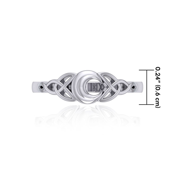 Celtic Knotwork Crescent Moon Ring TR1802