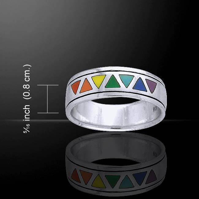 Rainbow Triangles Ring TR1843
