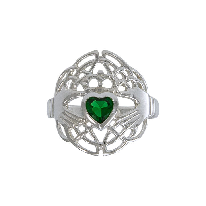 Celtic Claddagh Knotwork Sterling Silver Ring TR1876