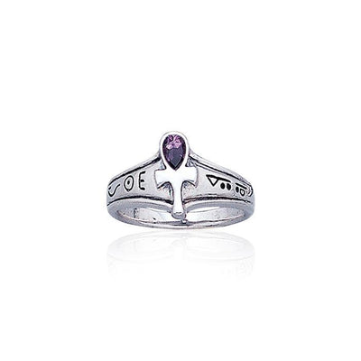 Ankh Silver Ring with Gemstone TR1878 Ring