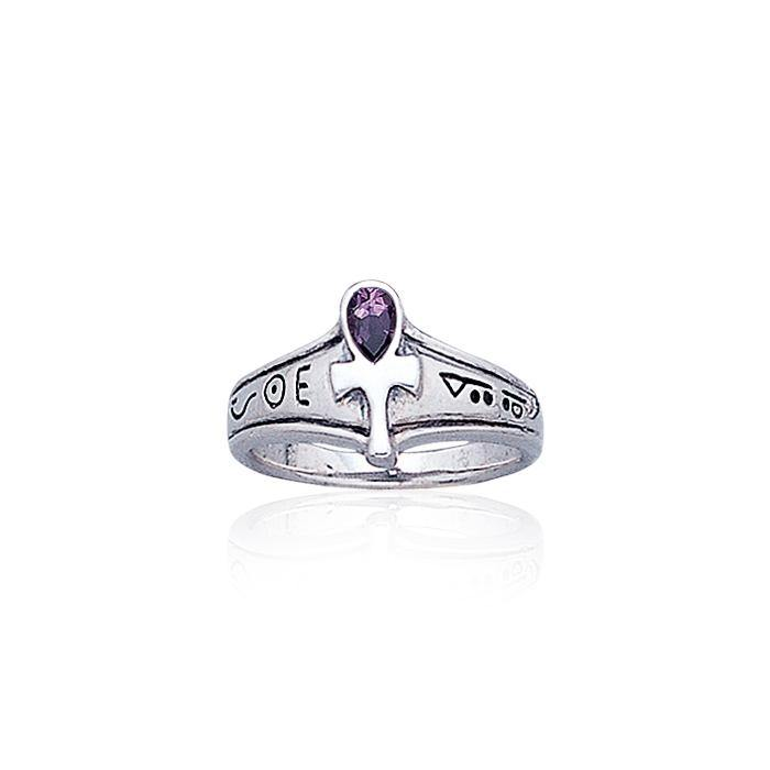 Ankh Silver Ring with Gemstone TR1878