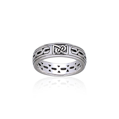 Celtic Knotwork Sterling Silver Band TR1902 Ring