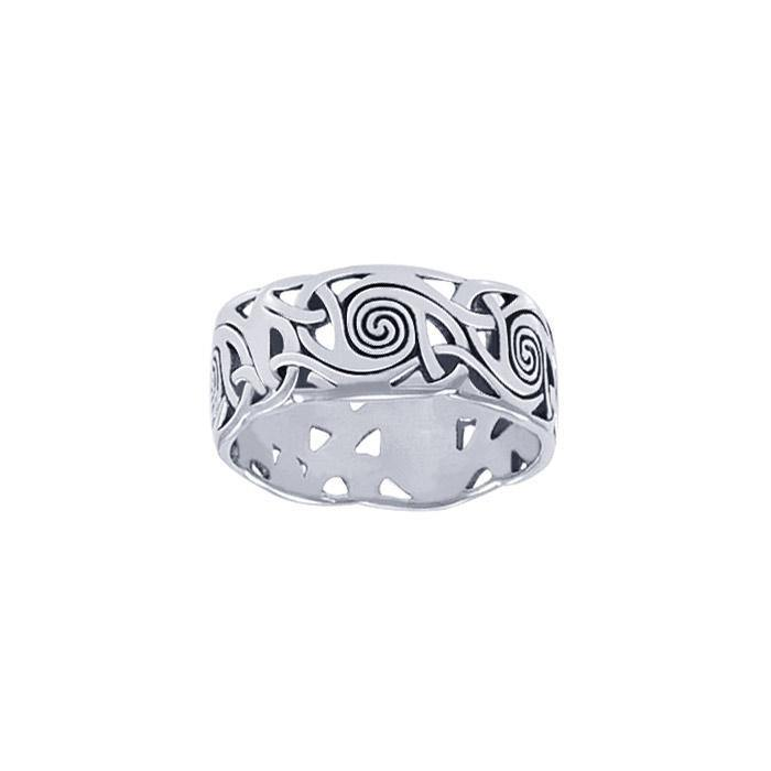 Celtic Silver Spiral Ring TR264
