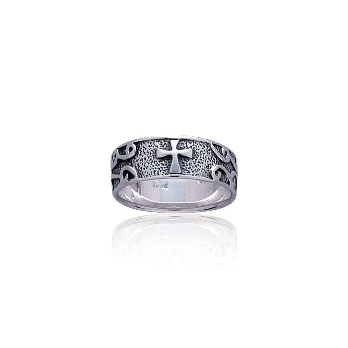 Medieval Cross Tendrils Silver Band Ring TR314