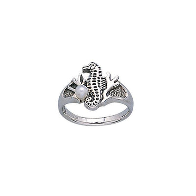 Seahorse Silver Ring with Pearl TR3309 Ring