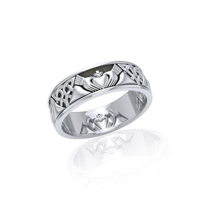 A love to last a lifetime ~ Celtic Knotwork Claddagh Sterling Silver Ring TR3355