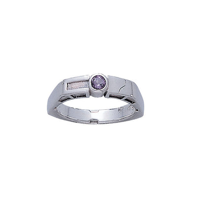 Modern Band Ring with Round Gemstone TR3389