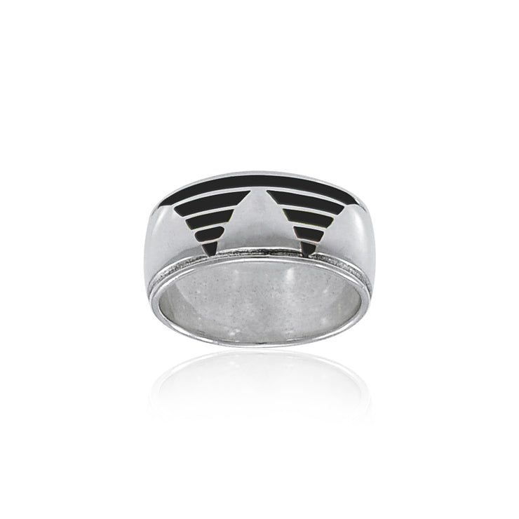 Rainbow Triangle Silver Band Ring TR3426