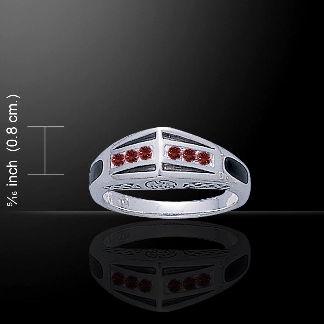 Modern Band Ring with Gemstone and Enamel TR3445 Ring