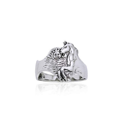 Horse with Sun Silver Ring TR3511