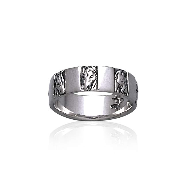 Horse Head Silver Band Ring TR3556 Ring