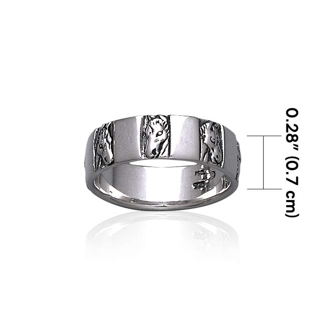 Horse Head Silver Band Ring TR3556