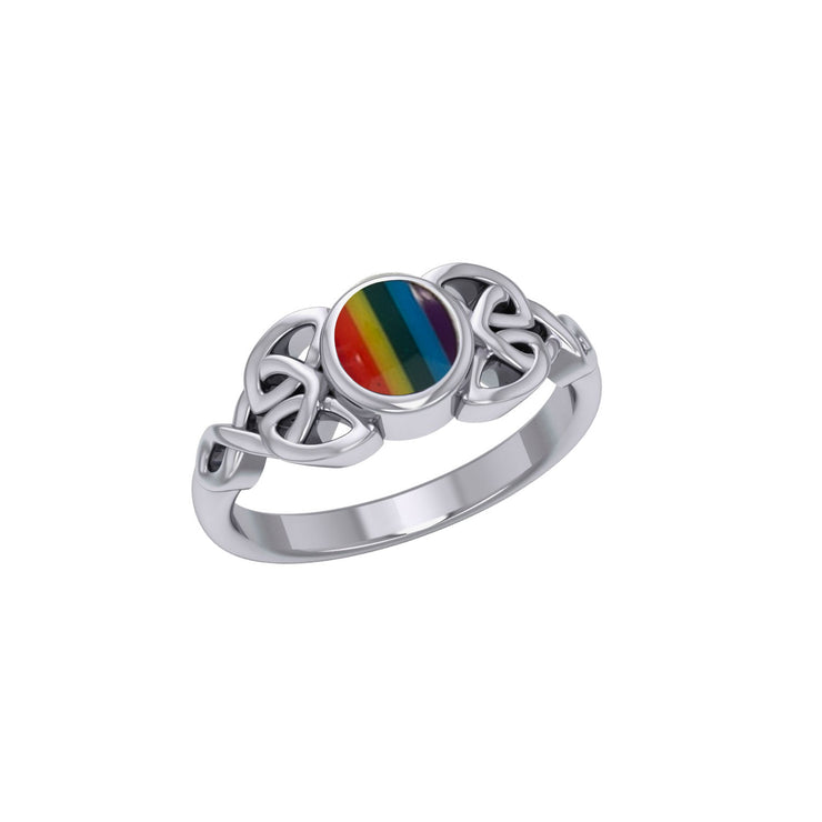 Celtic Knotwork and Gem Silver Ring TR3576