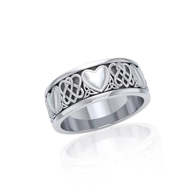 Share the gift of love ~ Celtic Knotwork and Hearts Sterling Silver Jewelry Ring TR3644