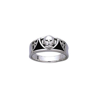 Skull Ring Band Ring with Enamel TR3661