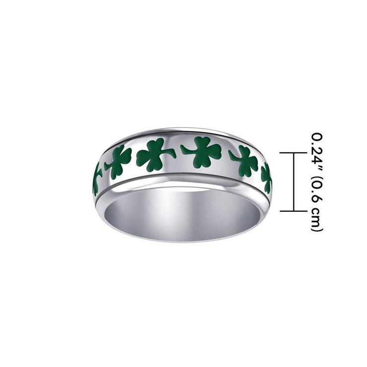 Life's a fortune and luck ~ Celtic Shamrock Sterling Silver Ring in Green Enamel TR3710 Ring
