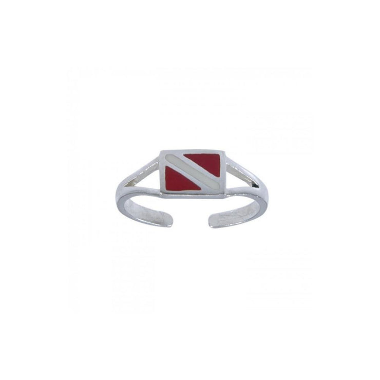 Silver Dive Flag Toe Ring TR3714