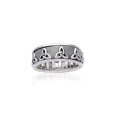 Celtic Trinity Knot Silver Spinner Ring TR3736
