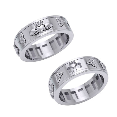 Celtic Trinity Shamrock Thistle Spinner Ring TR3743