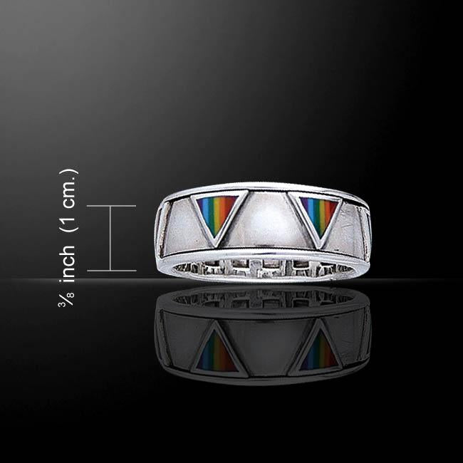 Rainbow Triangles Spinner Ring TR3744