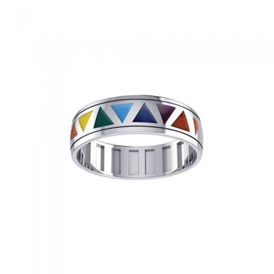 Rainbow Triangles Spinner Ring TR3750