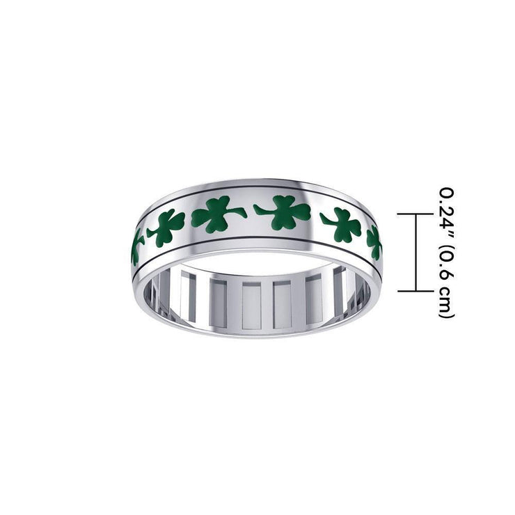 Faith, hope and love ~ Sterling Silver Jewelry Shamrock Spinner Ring with Green Enamel TR3751 Ring