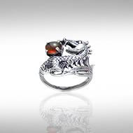Dragon Holding Gem Silver Ring TR3808