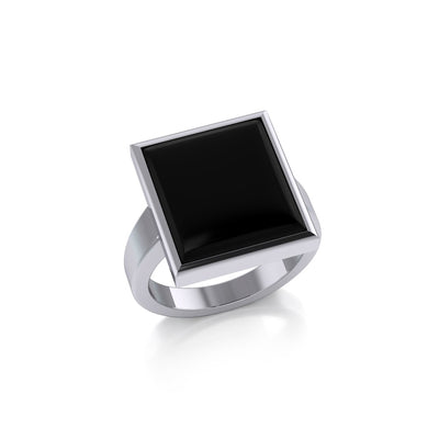 Square Inlaid Stone Ring TR3837 Ring
