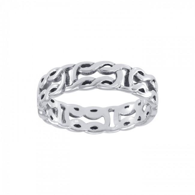 Life's a continuous beginning and an end ~ Celtic Knotwork Sterling Silver Ring TR398 Ring