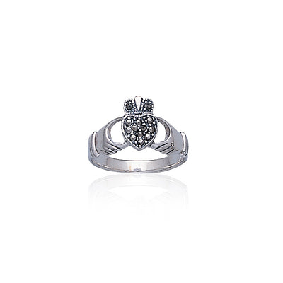 Irish Claddagh & Marcasite Heart Silver Ring TR416