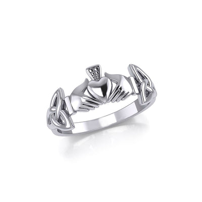 Irish Claddagh and Celtic Knotwork Silver Ring TR557 Ring
