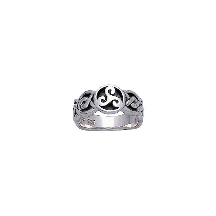 Celtic Silver Spiral Ring TR579