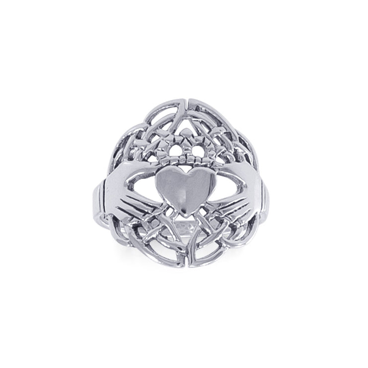 Celtic Claddagh & Celtic Knotwork Silver Ring TR666