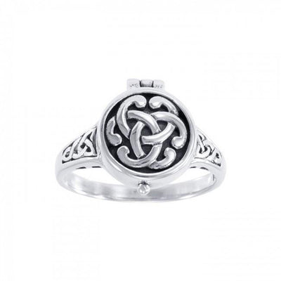 Celtic Knotwork Silver Poison Ring TR844