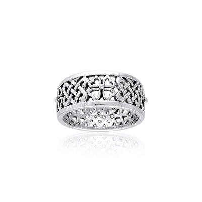 Celtic Knots Irish Shamrock Sterling Silver Ring TRI001