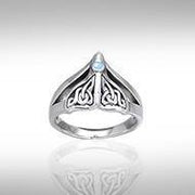 Celtic Knotwork Sterling Silver Whale's Tail Ring TRI040 Ring