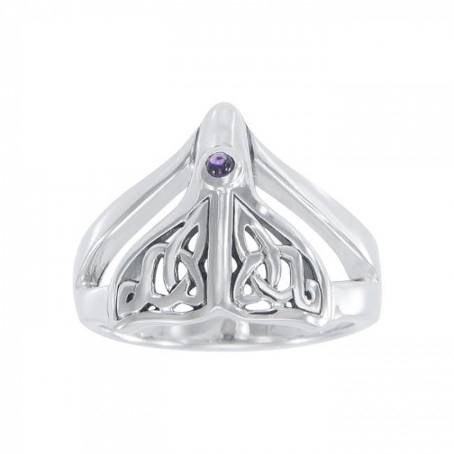 Celtic Knot Whale Tail Gemstone Silver Ring TRI040