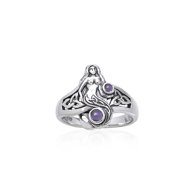 Celtic Mermaid Ring with Gemstones TRI045