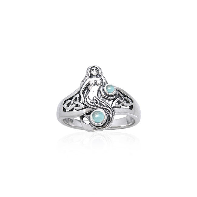 Celtic Mermaid Ring with Gemstones TRI045 Ring