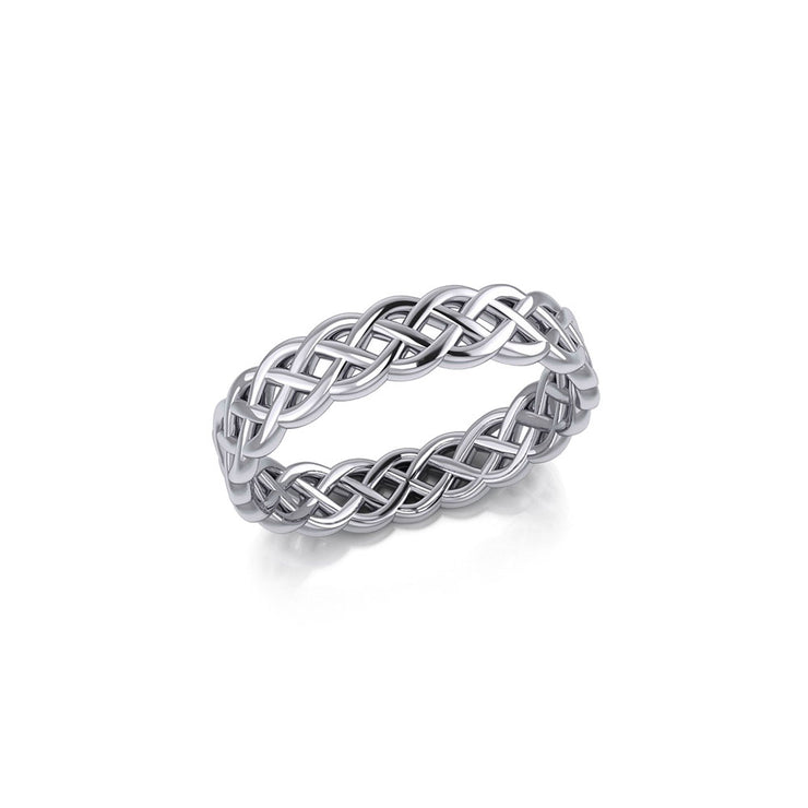 Hollow Celtic Sterling Silver Band Ring TRI071