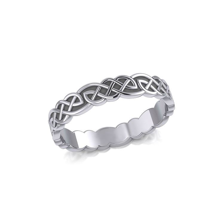Celtic Knotwork Sterling Silver Solid Band Ring TRI072