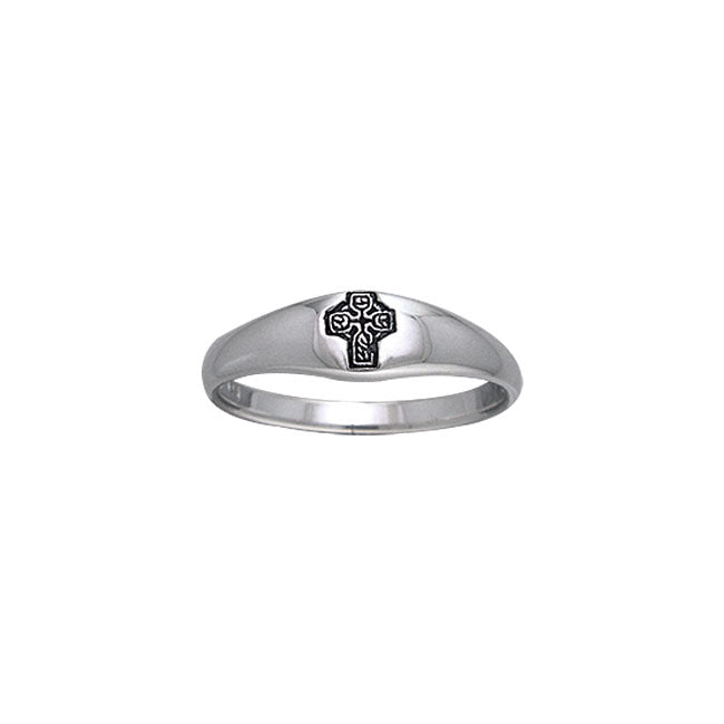 Celtic Cross Knotwork Silver Ring TRI075