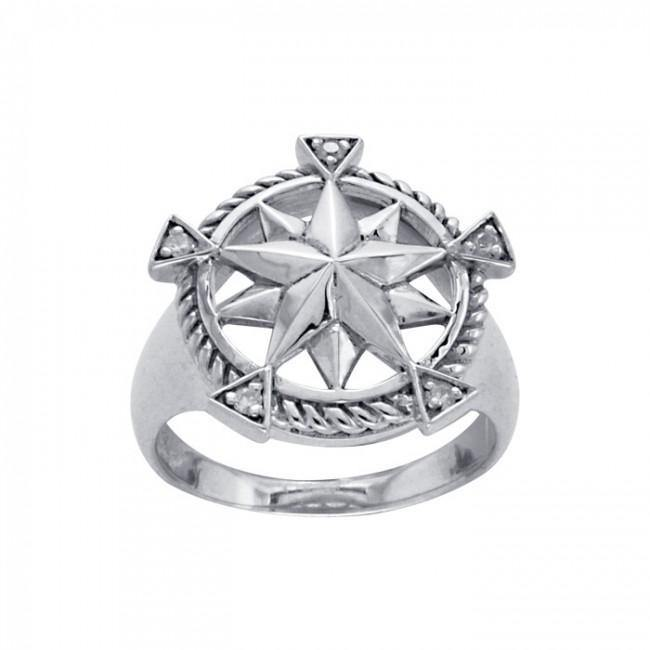 Compass with Gemstone Silver Ring TRI1073