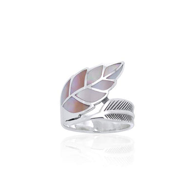 Silver Leaf with Inlay Stone Ring TRI1111