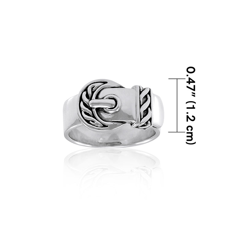 Celtic Belt Buckle Sterling Silver Ring TRI1255