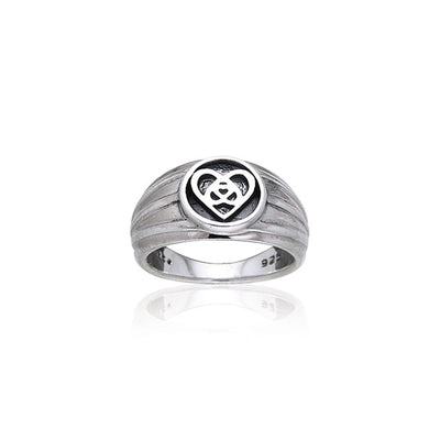Silver Celtic Knotwork Heart Ring TRI126 Ring