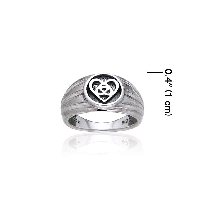 Silver Celtic Knotwork Heart Ring TRI126