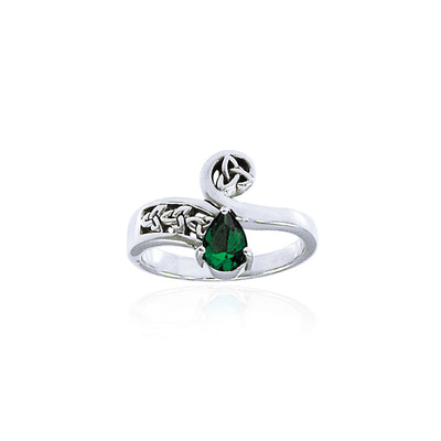 Celtic Trinity Knot Silver Ring with Teardrop Gemstone TRI1285 Ring