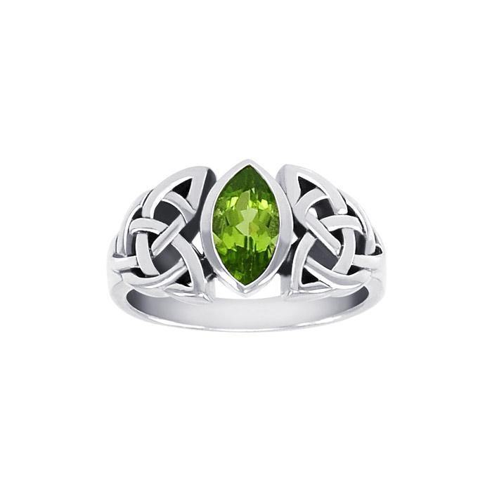 In the belief of the powerful three ~ Celtic Trinity Knot Sterling Silver Ring with a Gemstone centerpiece TRI1342