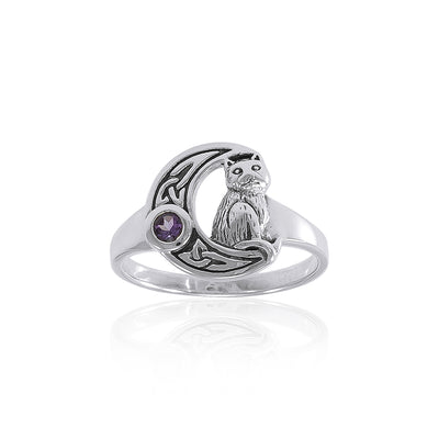 Celtic Cat Sterling Silver Moon Ring TRI1541